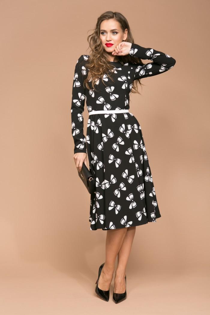 058 платье черно-белое
