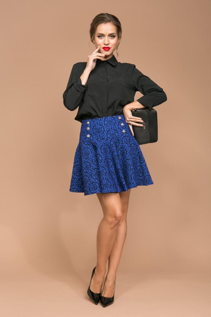 060 юбка ярко-синия