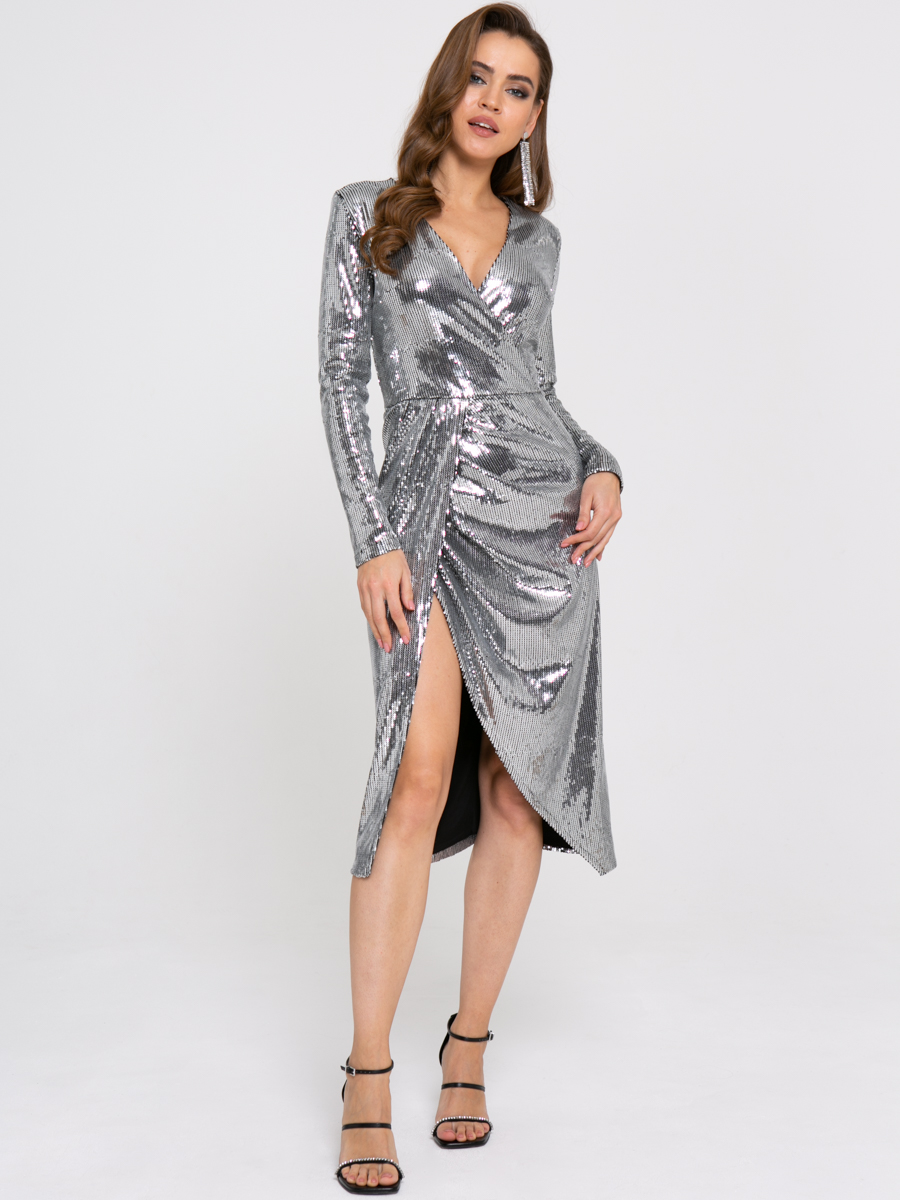 Платье Z358 цвет: темно-серебрянный