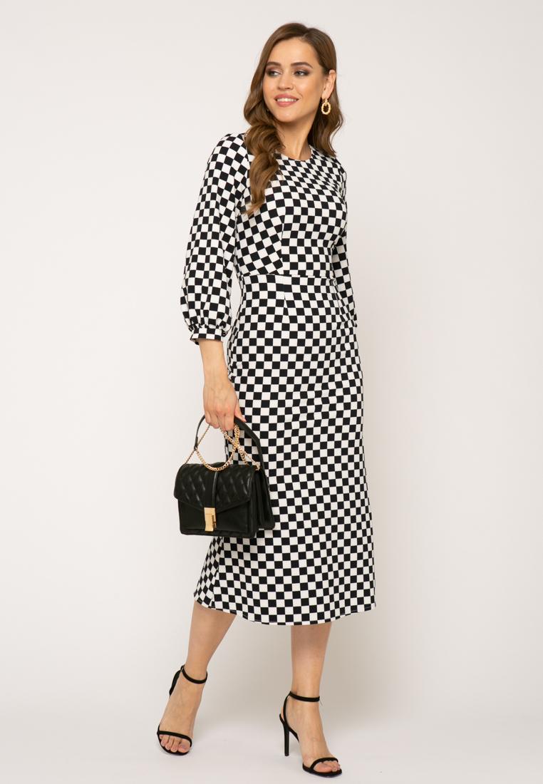 Платье V343 цвет черно-белый