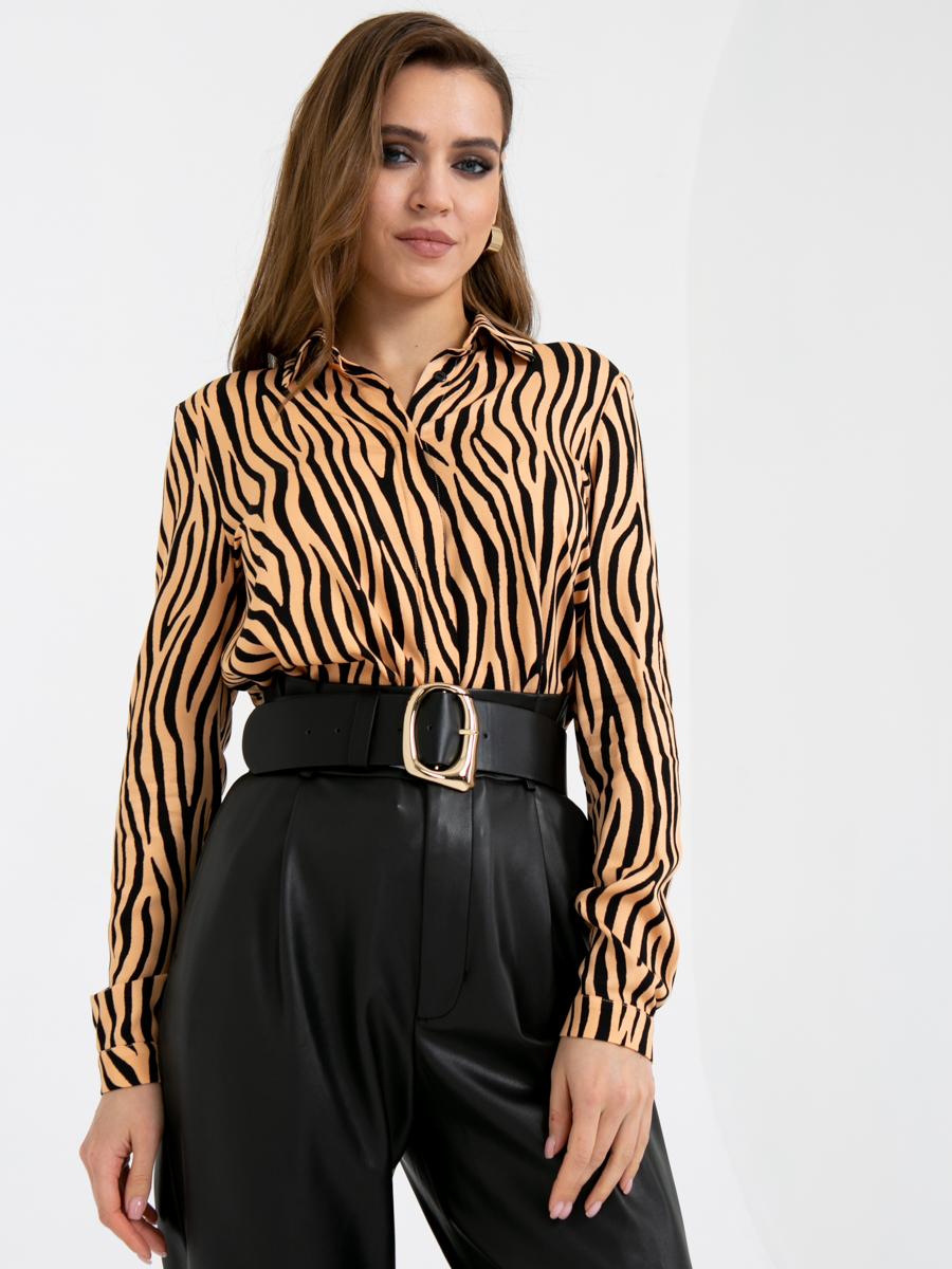 Блузка A419 цвет: черно-бежевый