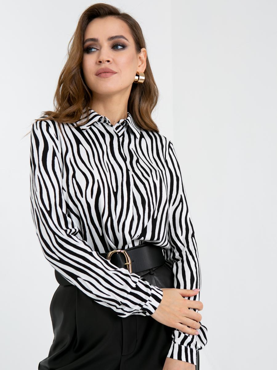 Блузка A419 цвет: черно-белый