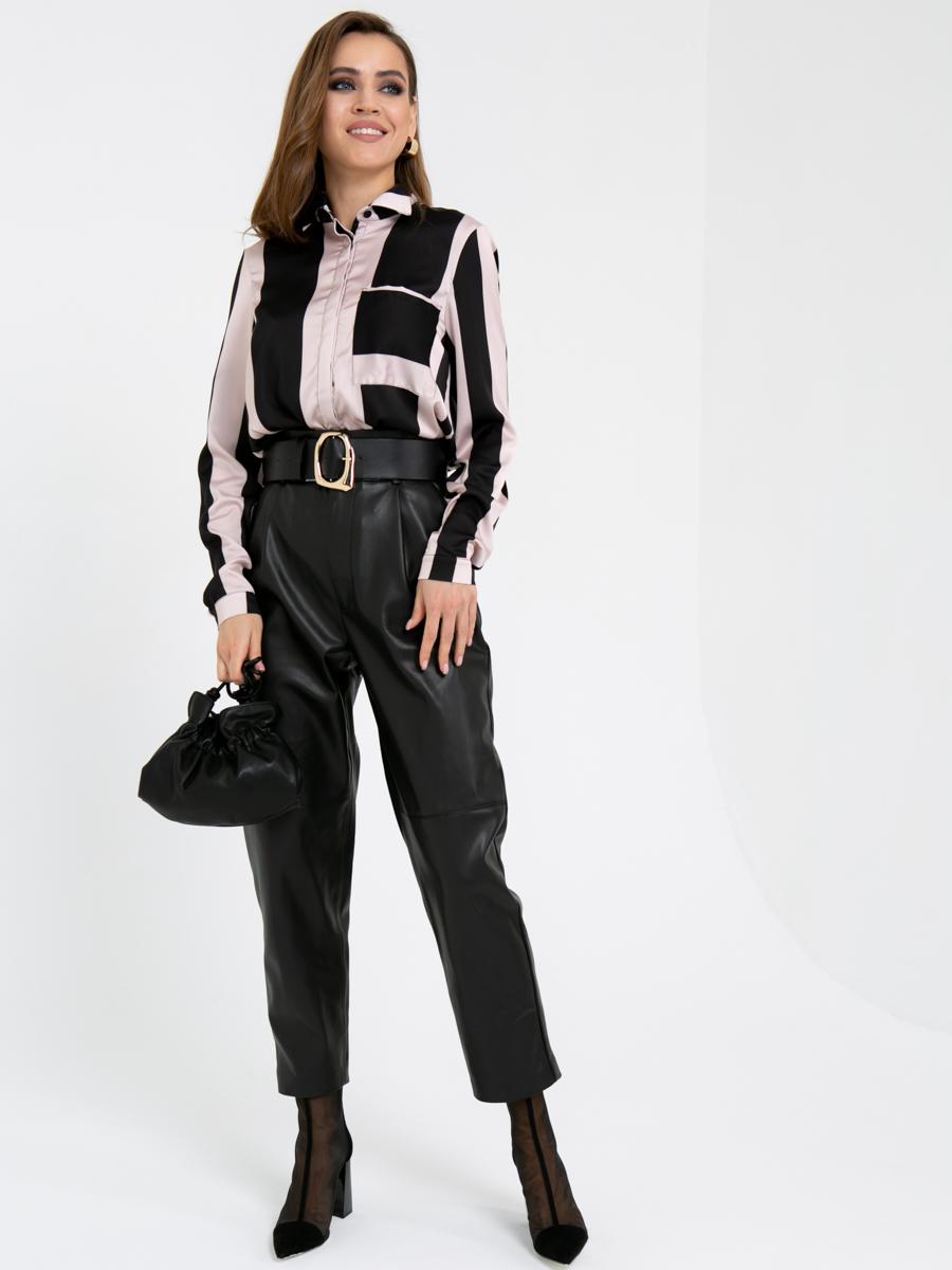 Блузка A402 цвет: черно-бежевый