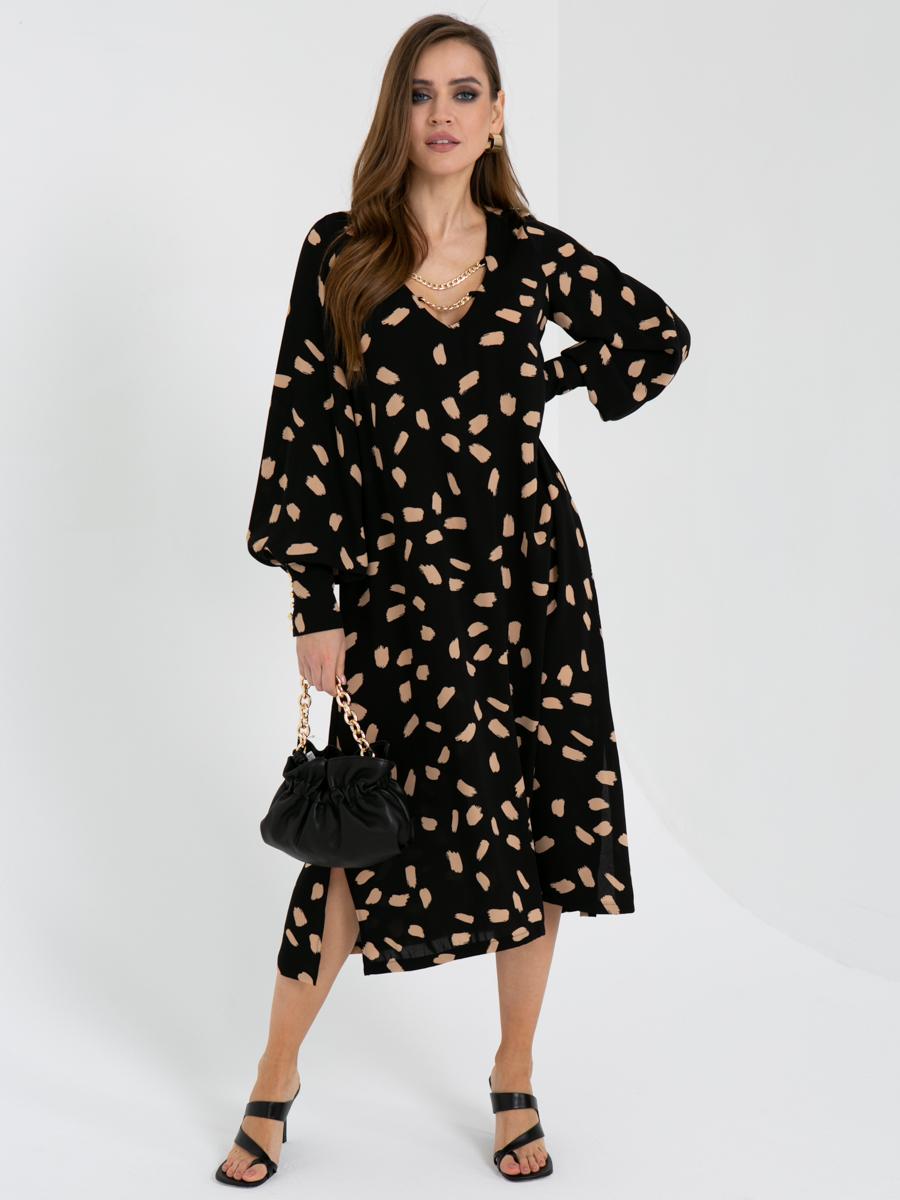 платье V436 цвет: черно-бежевый