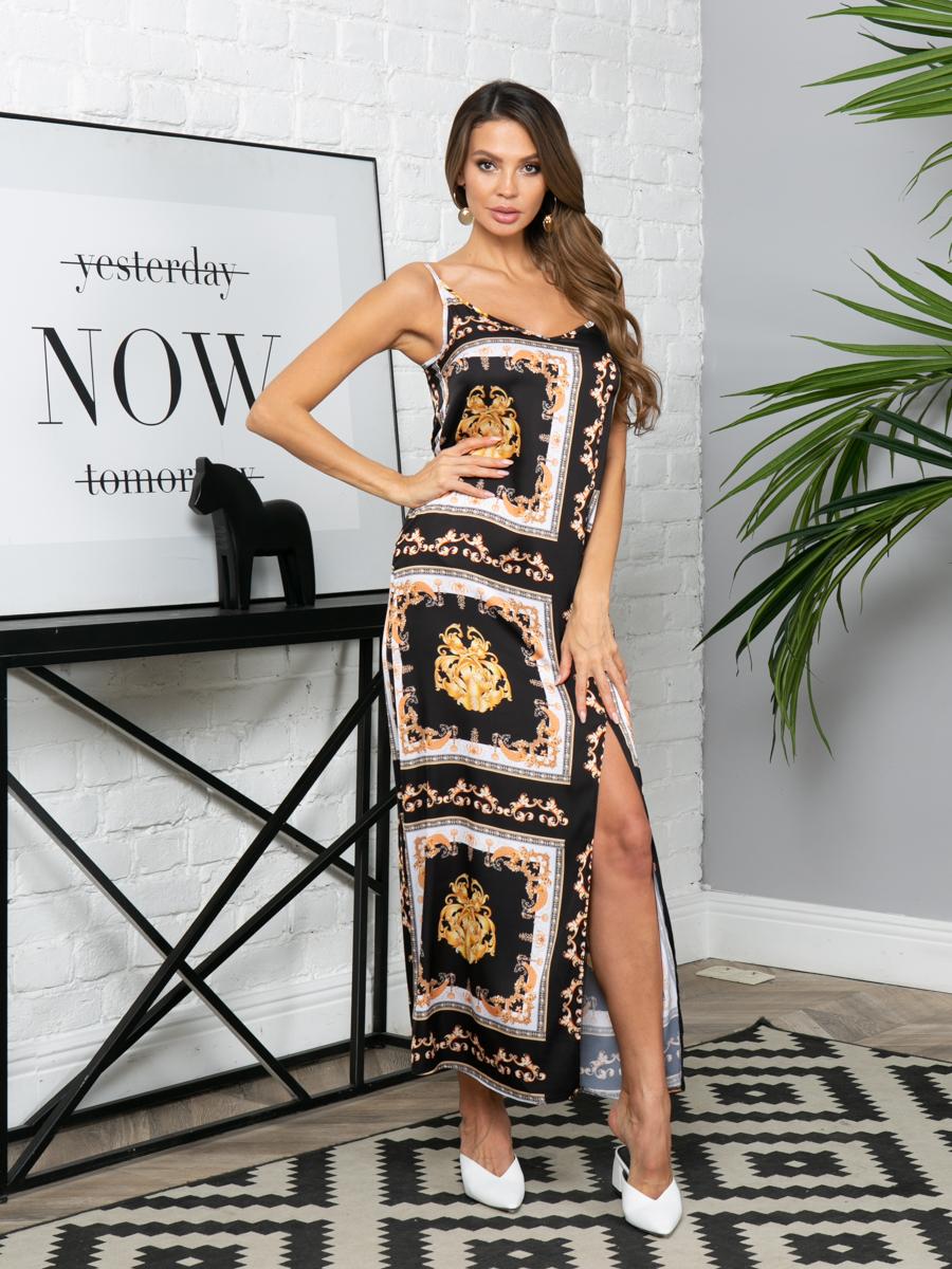 Платье L299 цвет: черно-золотой