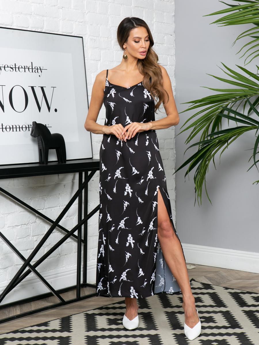 Платье L299 цвет: черно-белый