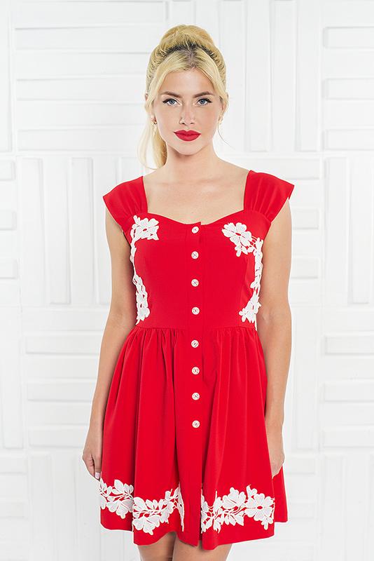 090 платье красное с кружевом
