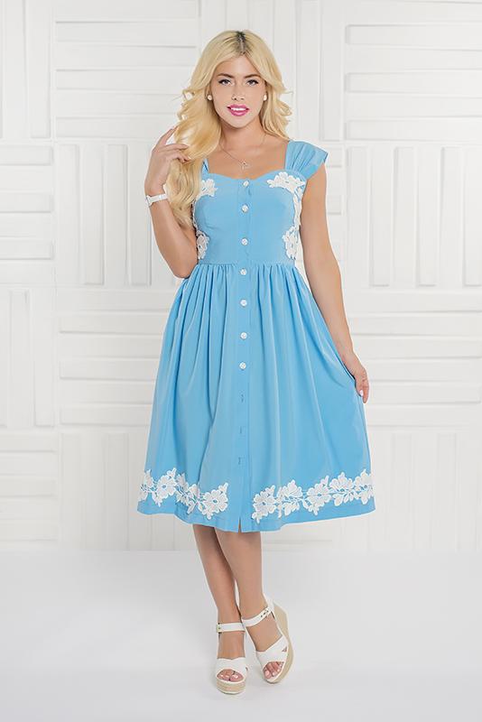 092 платье голубое  с кружевом