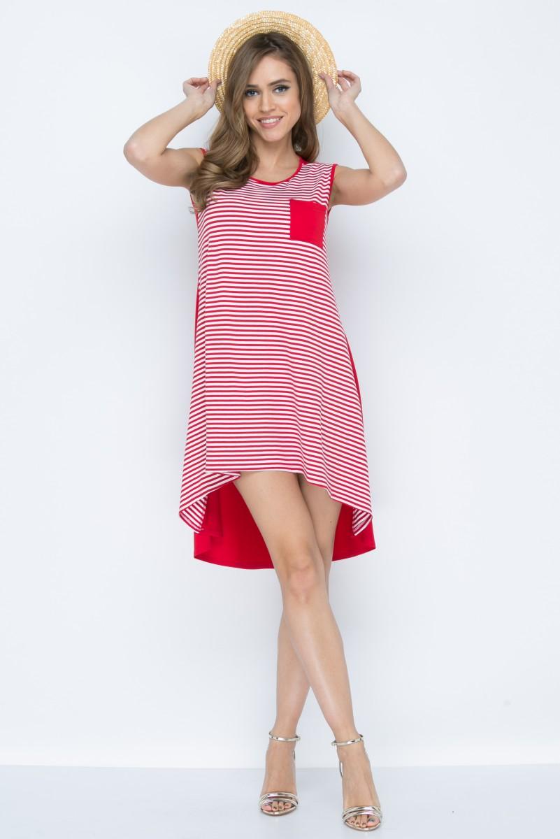 Платье L146 цвет красно-белый