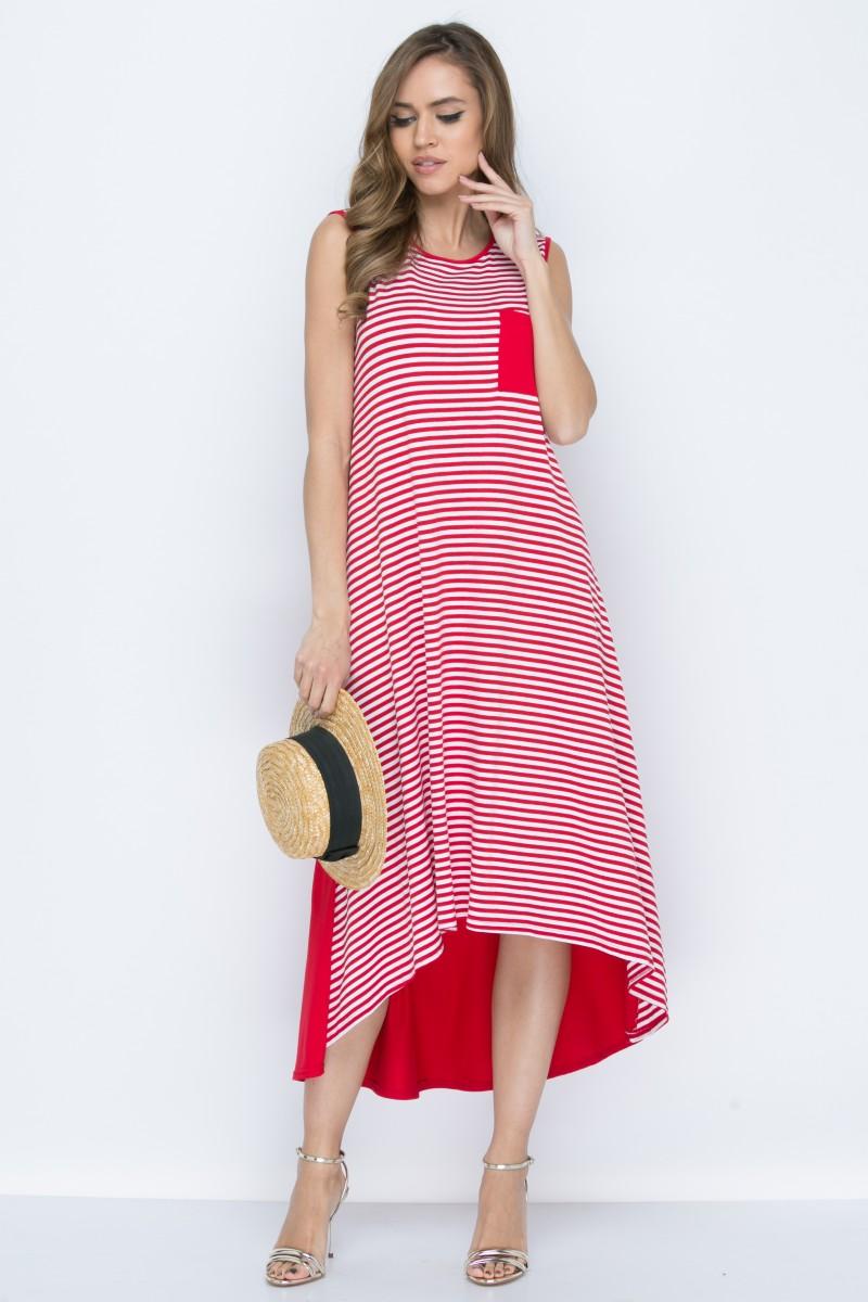 Платье L147 цвет красно-белый