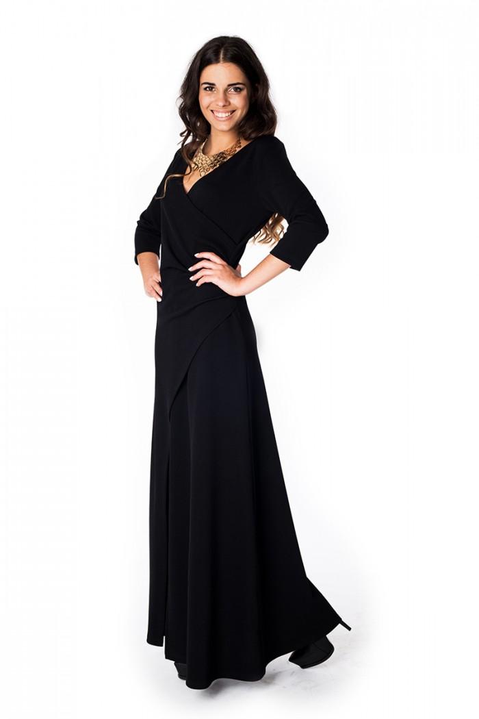 072 Платье на запах черное