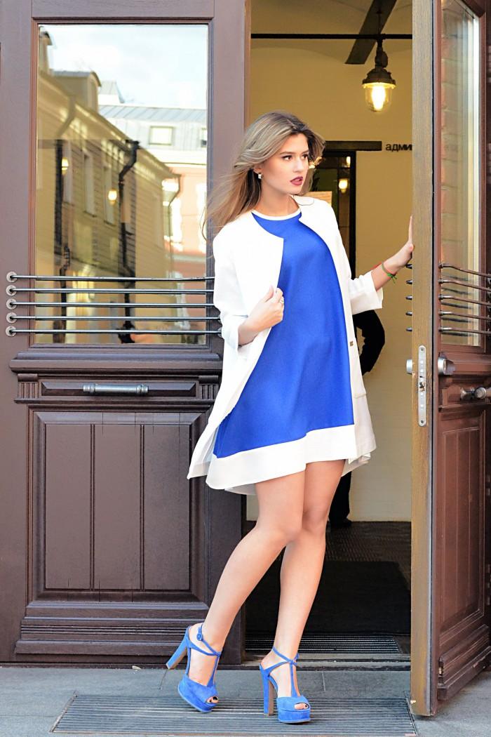 036 Платье мини ярко-синий