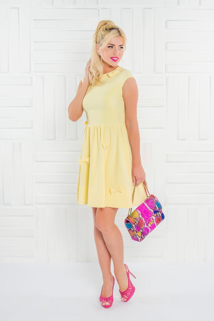 091 платье желтое отдекорировано бантиками