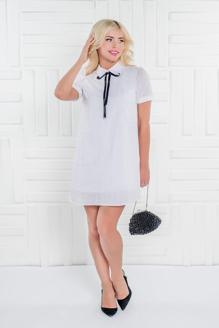 100 платье белое из фактурного хлопка