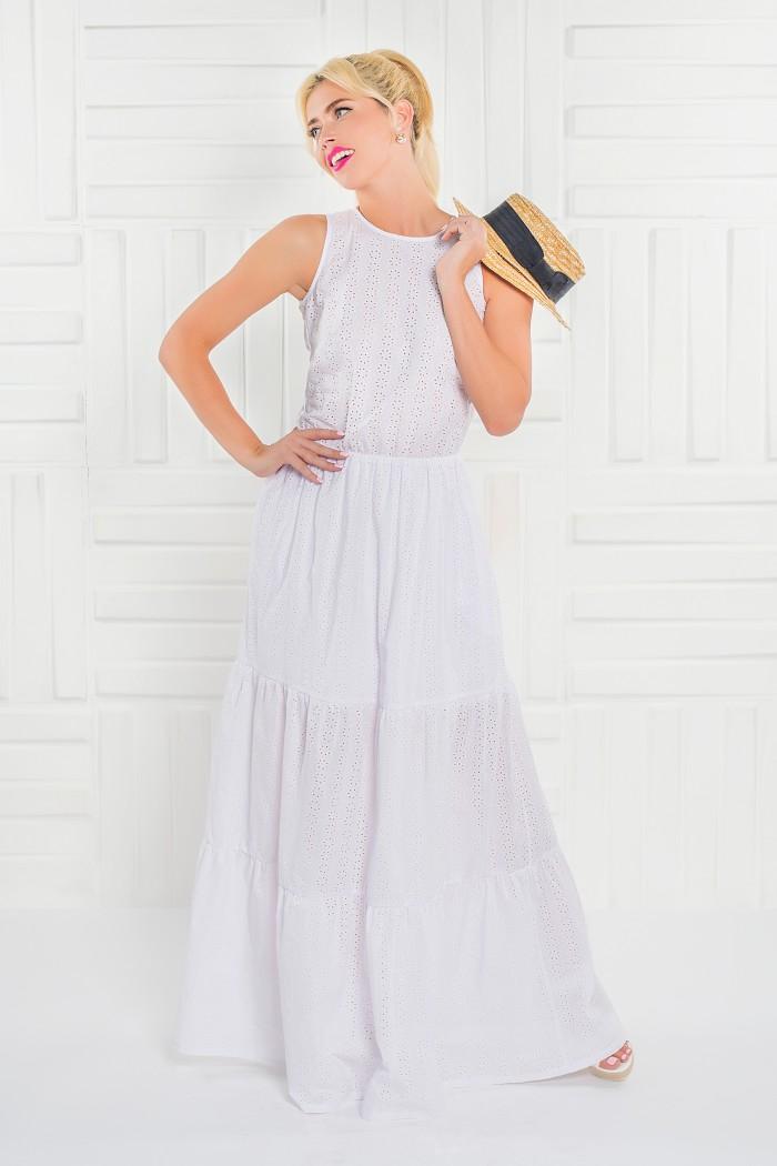 099 платье белое из фактурного хлопка