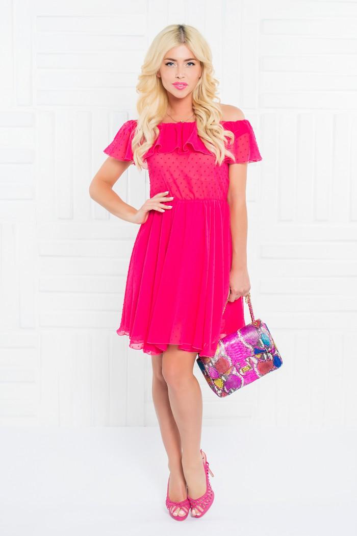 086 платье малиновое из фактурного шифона