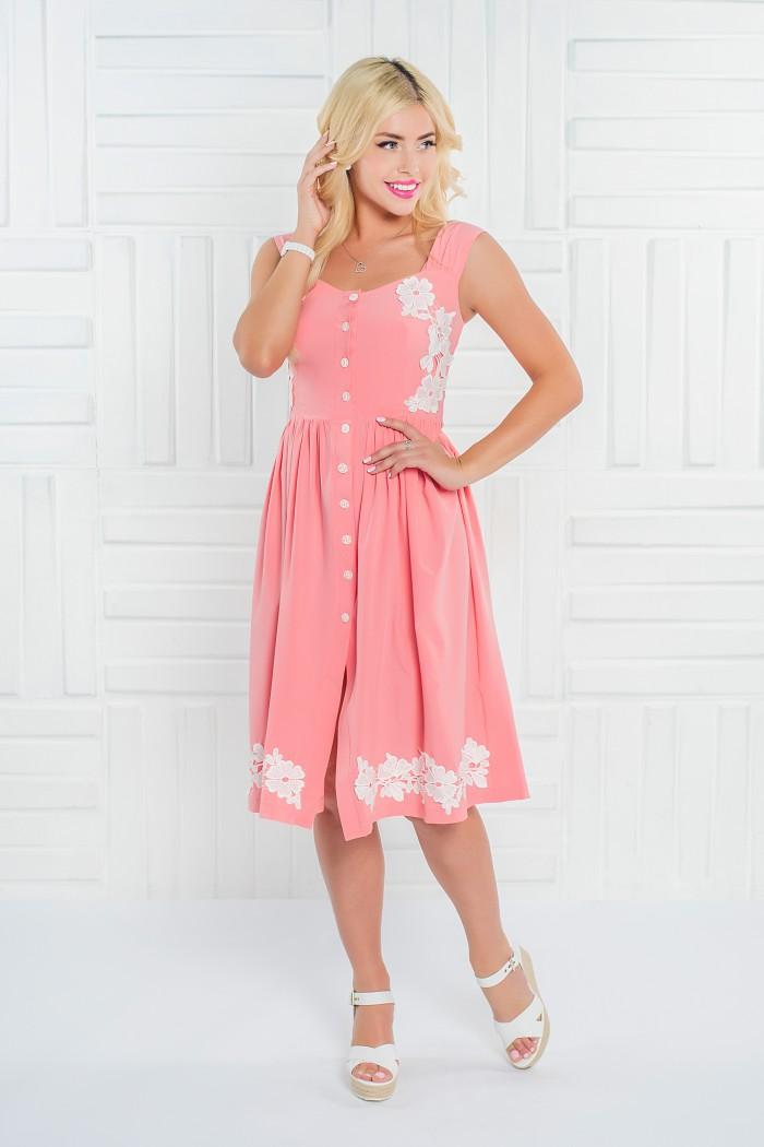 092 платье персиковое с кружевом