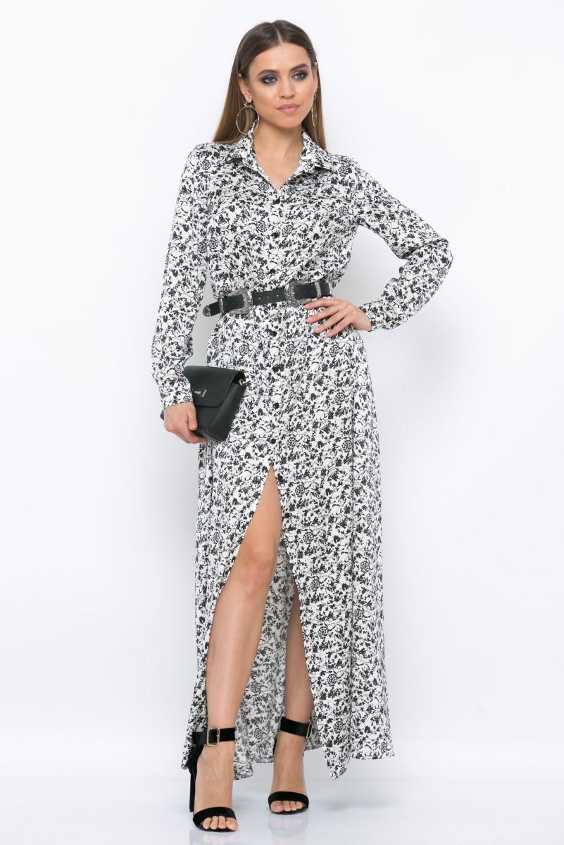 Платье V218 цвет черно-белый