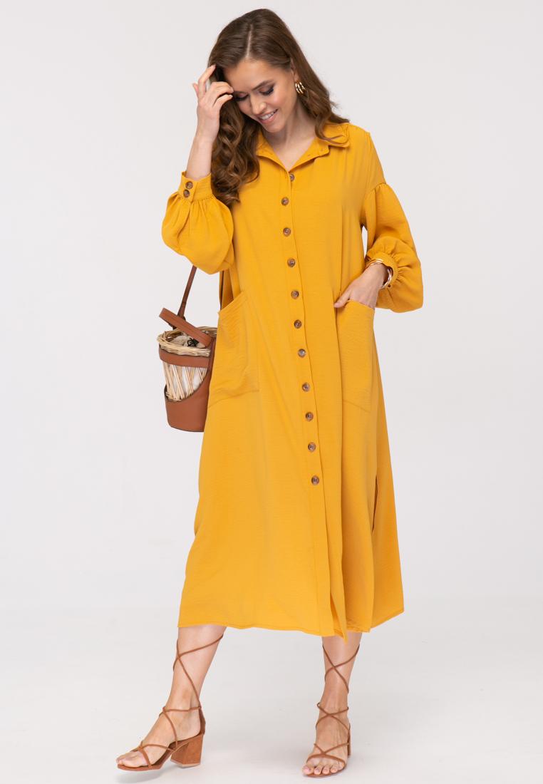 Платье L384 цвет горчичный