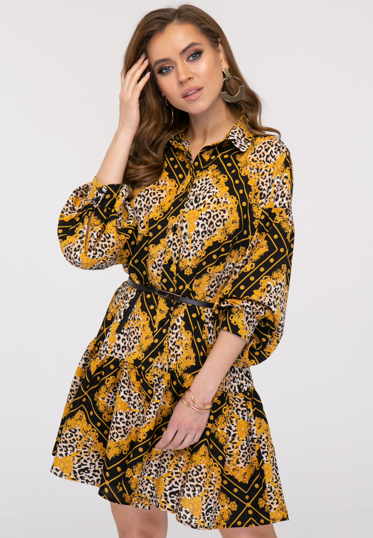 Платье L385 цвет черно-белый