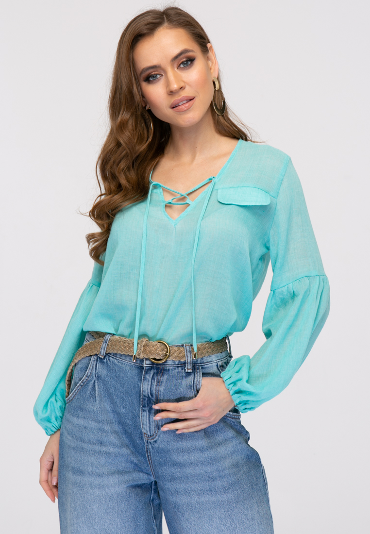 Блузка L380 цвет бирюзовый