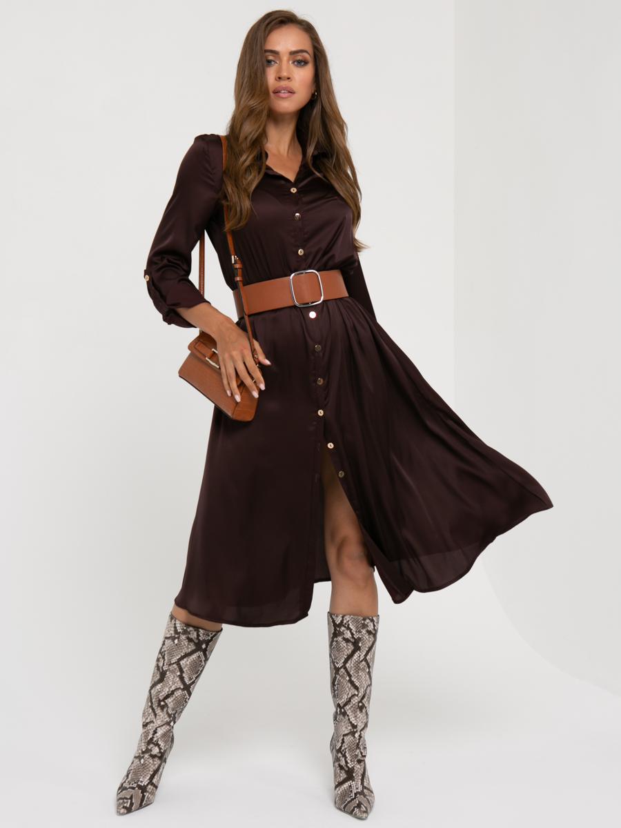 Платье A456 цвет: коричневый