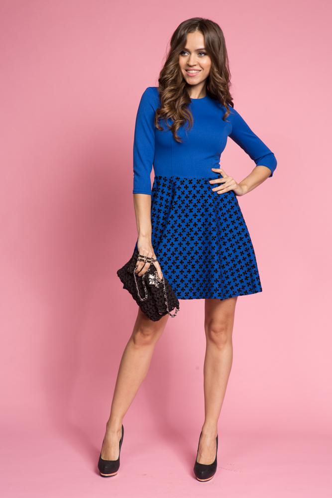 043 Платье ярко-синее