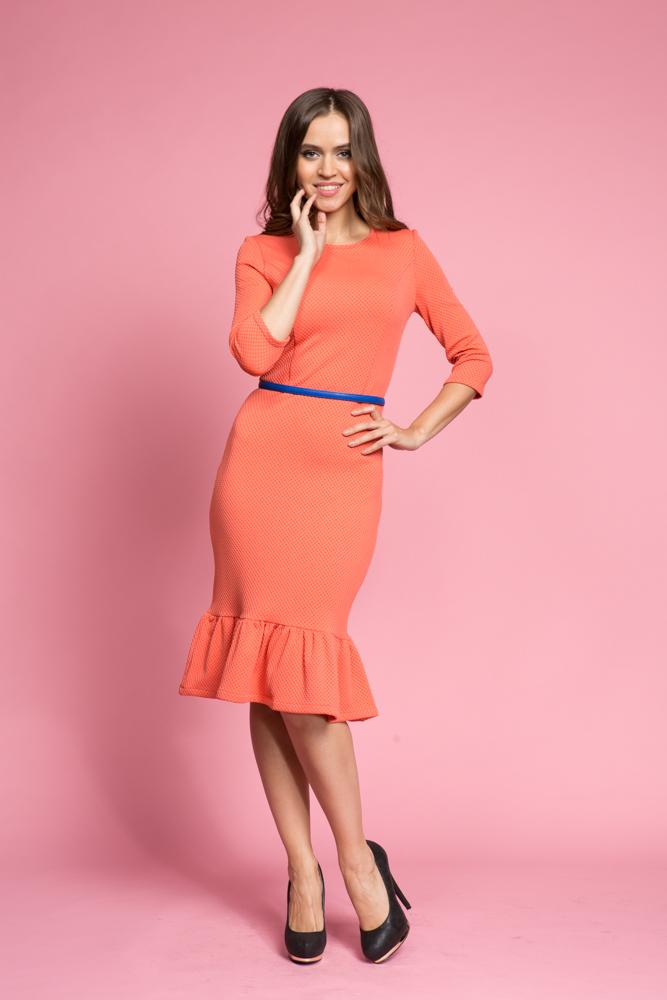 194 Платье коралловое