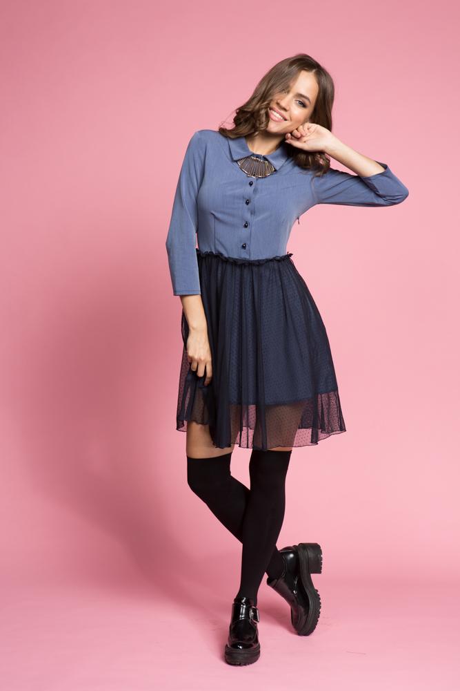 049 Платье синее