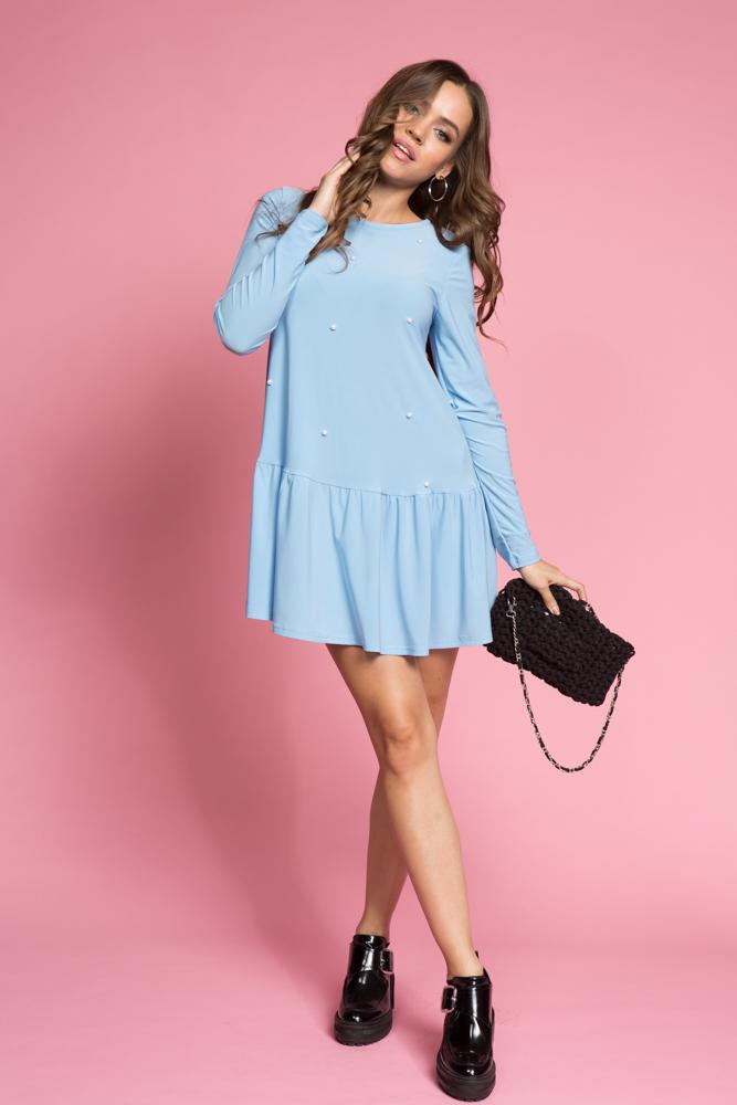 052 Туника-платье небесно-голубая