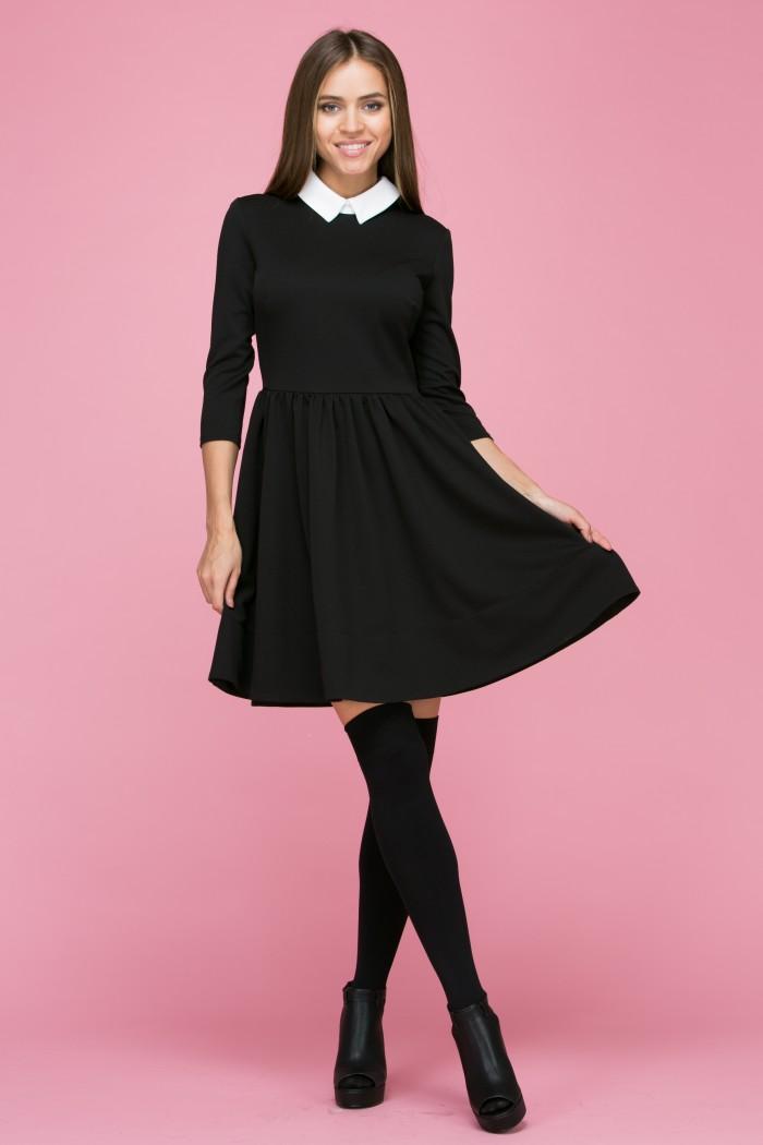104 Платье цвет черно-белый