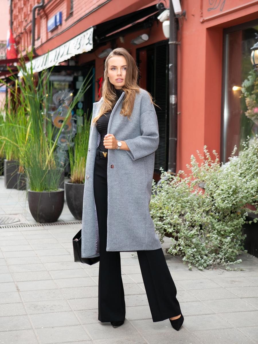 Пальто A324 цвет серый