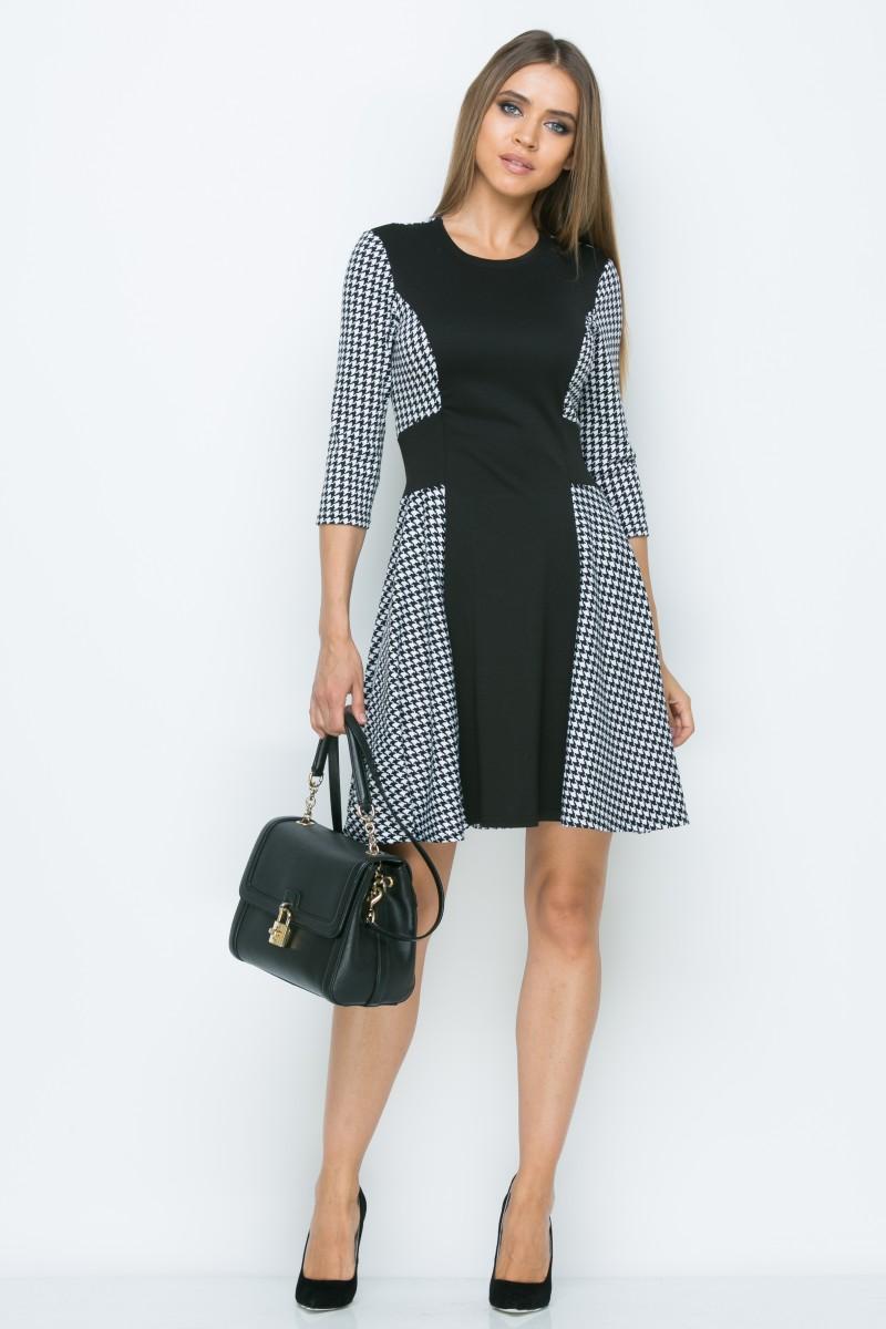 Платье A156 цвет черно-белый