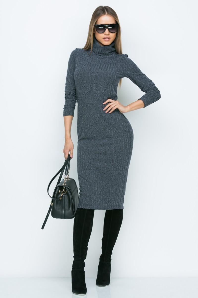Платье A160 цвет т.серый