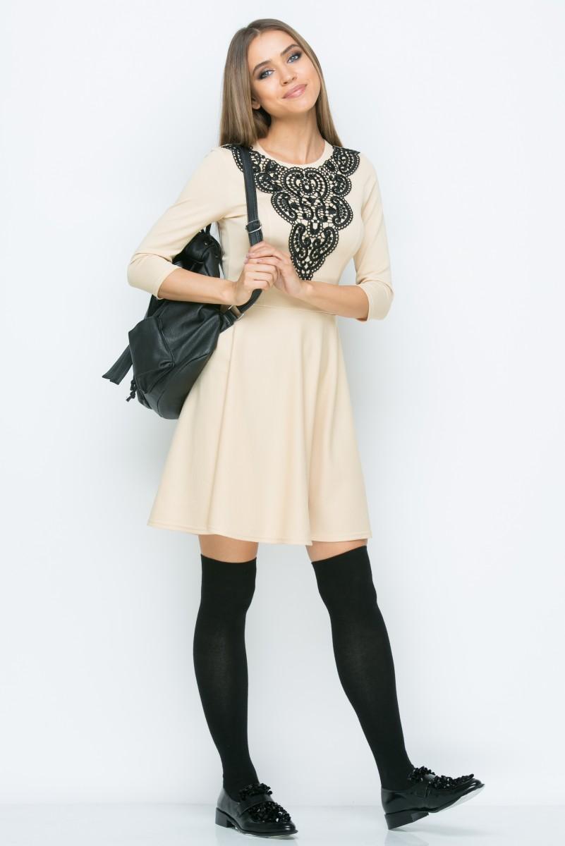 Платье A042 цвет бежевый