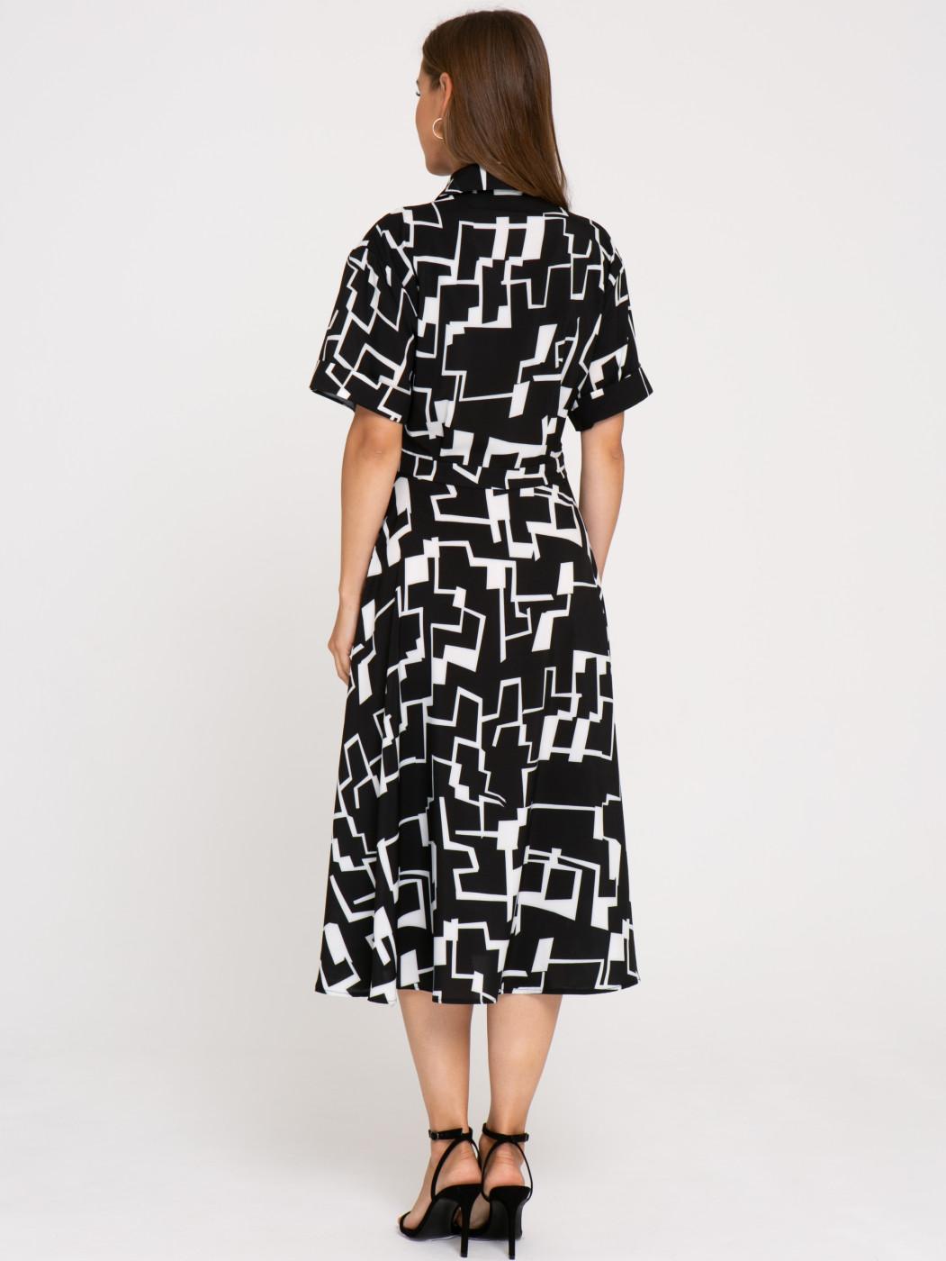 Платье А347 цвет: черно-белый
