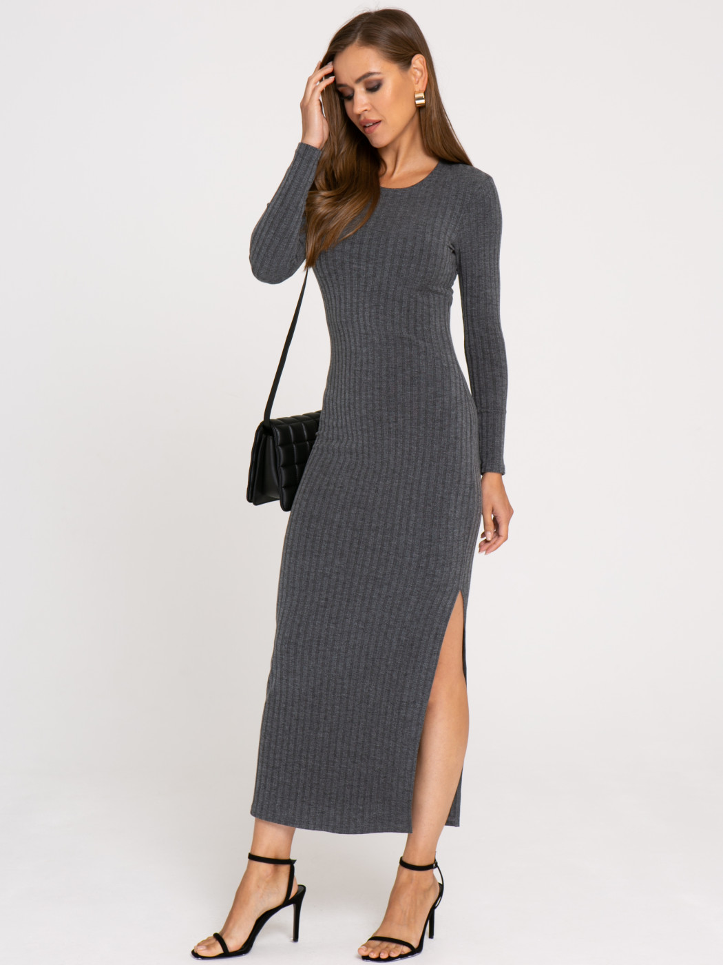 Платье А406 цвет: серый-меланж