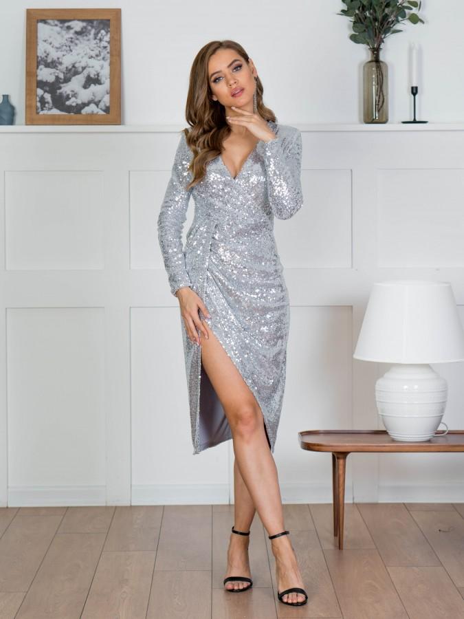 Платье Z358 цвет серебро