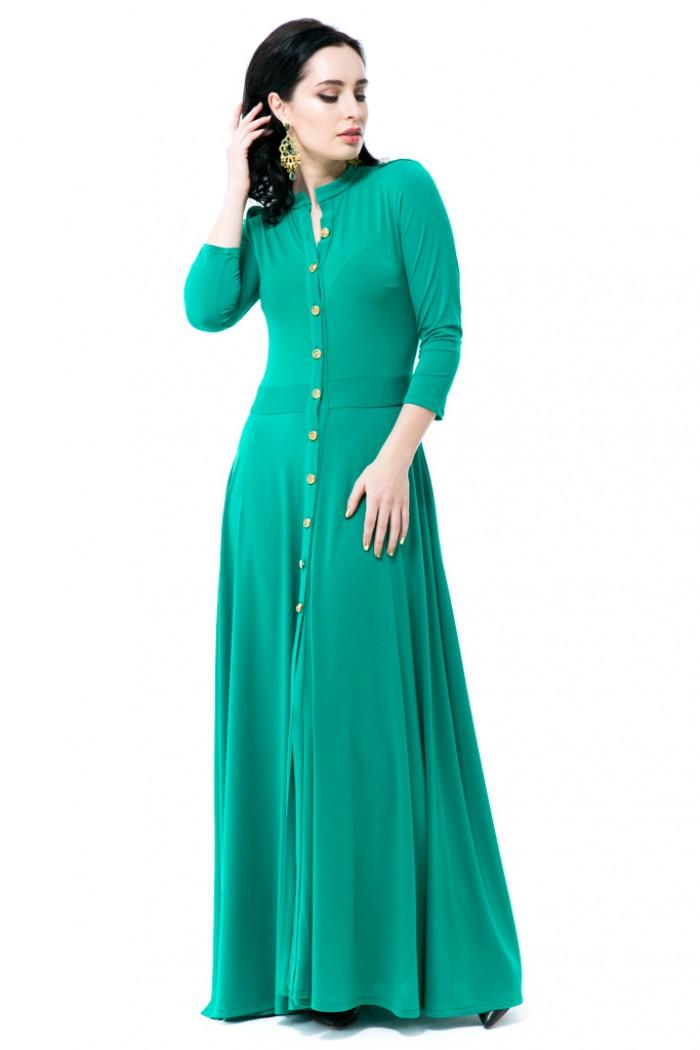 013 Платье зеленое на пуговицах