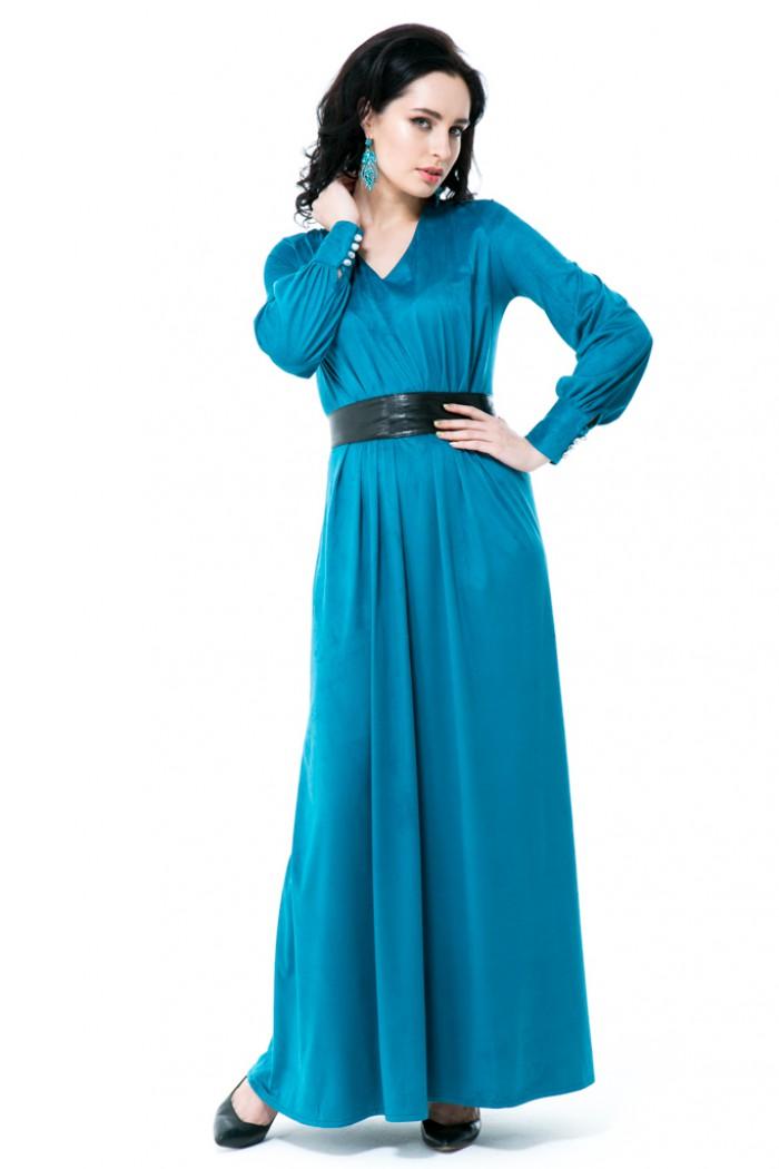 025 Платье изумрудное с поясом кушаком