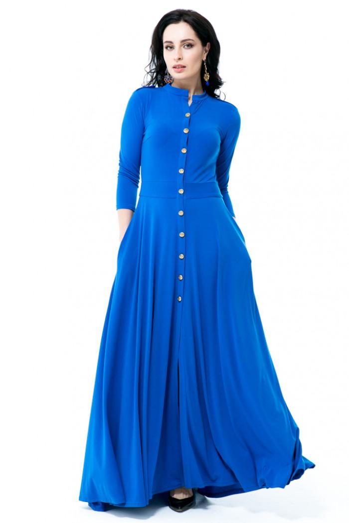 013 Платье синие на пуговицах